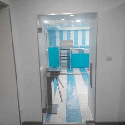 Прозрачная дверь на маятниковых петлях