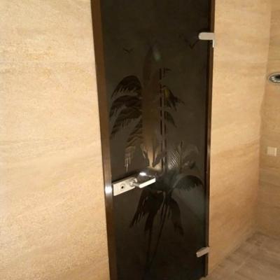 Двери из бронзового стекла в массажную