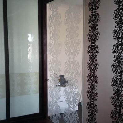 Стеклянная раздвижная дверь с художественным матированием