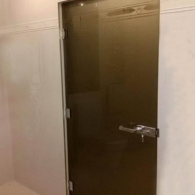 Тонированная стеклянная дверь  с матовым рисунком