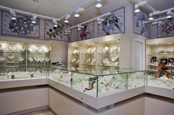 пример стеклянные витрины в ювелирном салоне