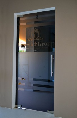 Дверь в графитовом стекле с матированием