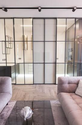 Раздвижные стеклянные двери а люминиевом обвязе