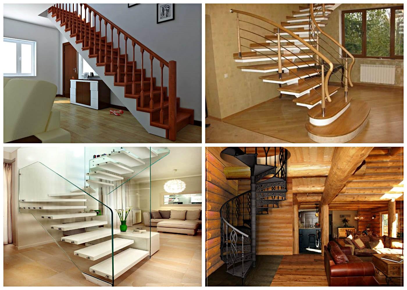 ограждения лестниц из различных материалов - стекло, дерево, металл