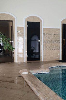 Бронзовые стеклянные распашные двери в баню/сауну