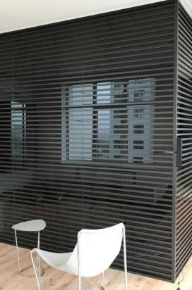 Гардеробная из стекла в интерьере квартиры