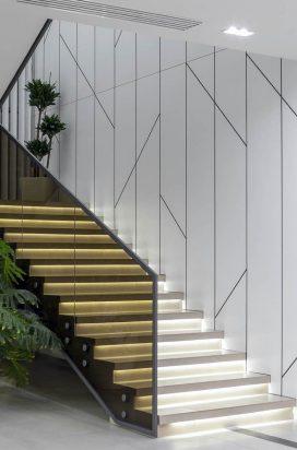 Бронзовое стеклянное ограждение лестницы